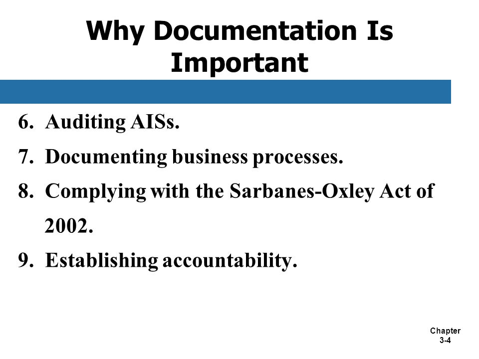 Chapter 3-4 6. Auditing AISs. 7. Documenting business processes. 8. Complying with the Sarbanes-Oxley Act of 2002. 9. Establishing accountability. Why