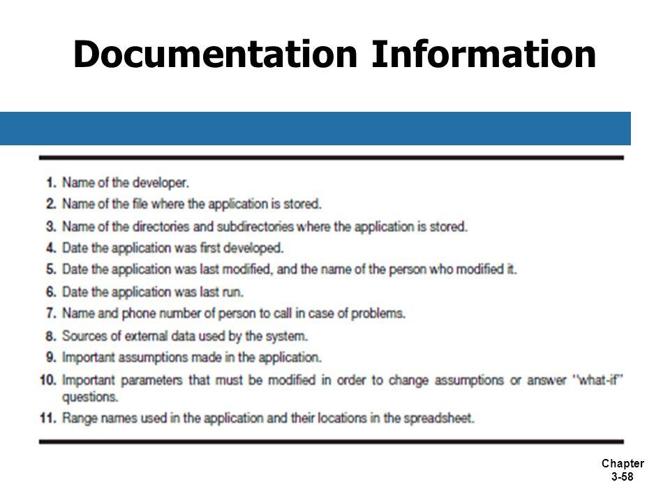Chapter 3-58 Documentation Information