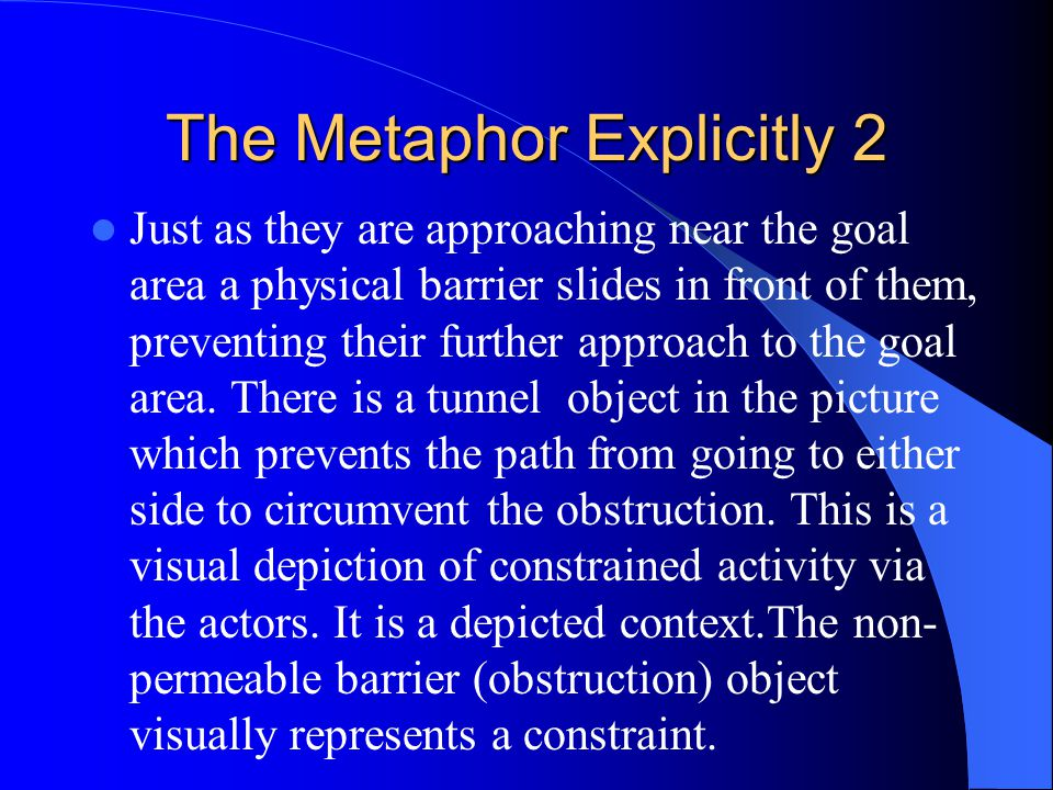 The Metaphor Explicitly 2 Just as they are approaching near the goal area a physical barrier slides in front of them, preventing their further approach to the goal area.
