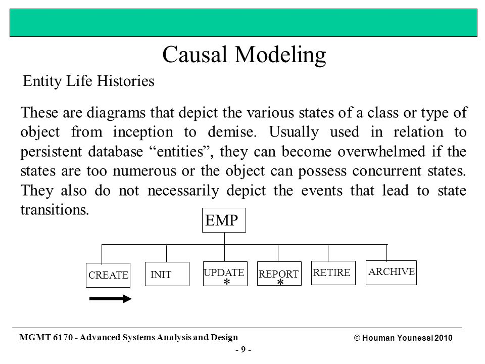 - 8 - © Houman Younessi 2010 MGMT 6170 - Advanced Systems Analysis and Design There are many different approaches to causal modeling.