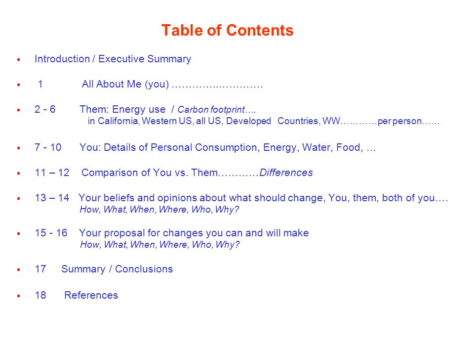 Table of Contents  Introduction / Executive Summary  1 All About Me (you) …………..………….
