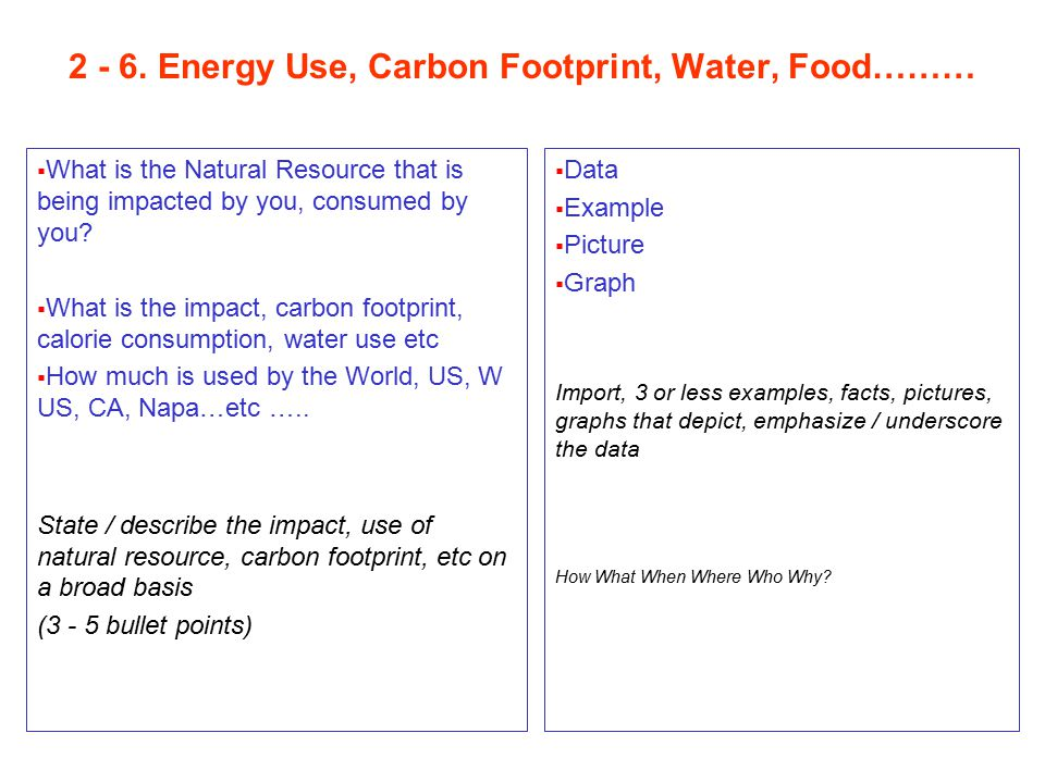 2 - 6. Energy Use, Carbon Footprint, Water, Food………  What is the Natural Resource that is being impacted by you, consumed by you?  What is the impac