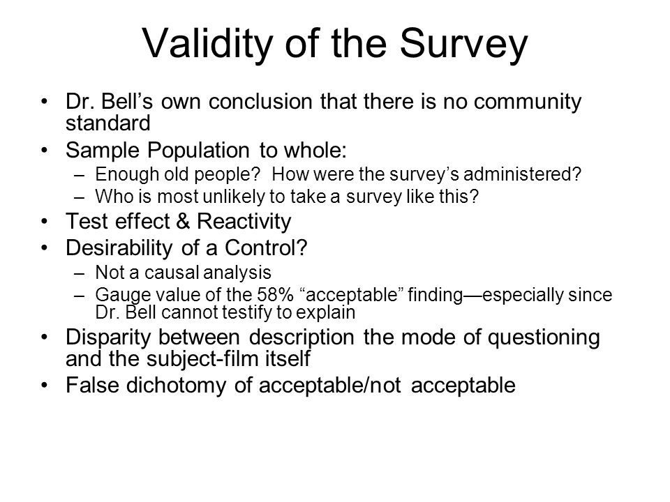 Validity of the Survey Dr.