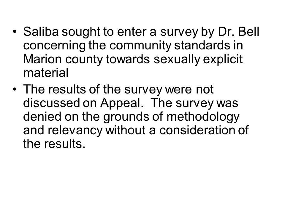 Saliba sought to enter a survey by Dr.