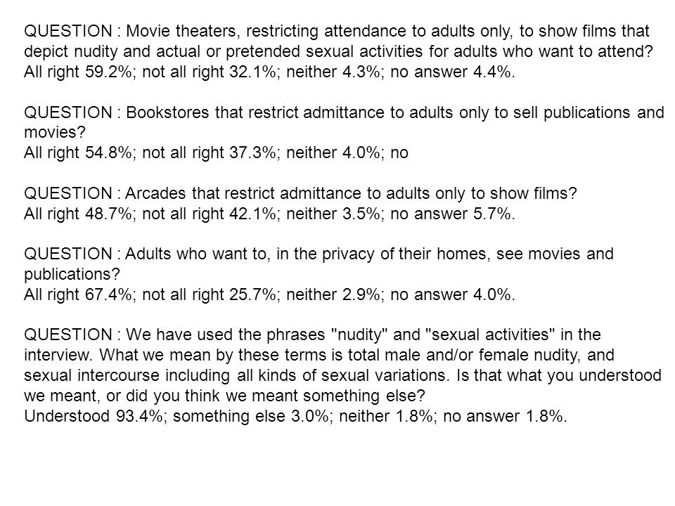 QUESTION : Movie theaters, restricting attendance to adults only, to show films that depict nudity and actual or pretended sexual activities for adults who want to attend.