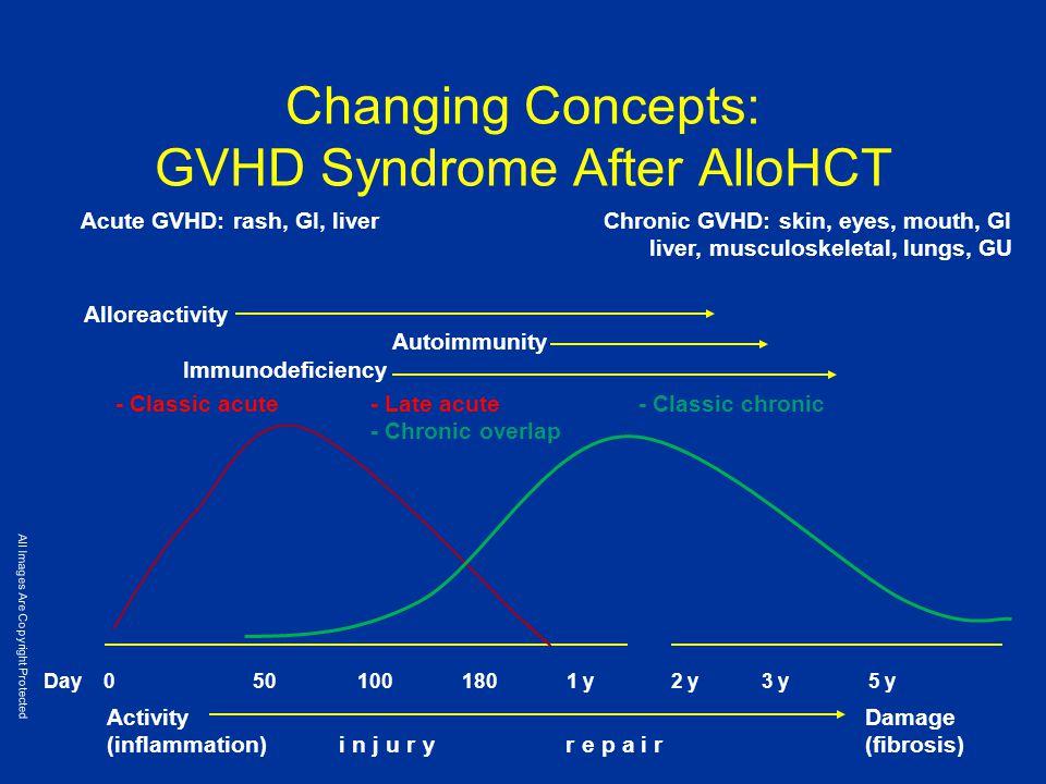 Changing Concepts: GVHD Syndrome After AlloHCT Day 050100180 1 y2 y 3 y 5 y Acute GVHD: rash, GI, liverChronic GVHD: skin, eyes, mouth, GI liver, musc