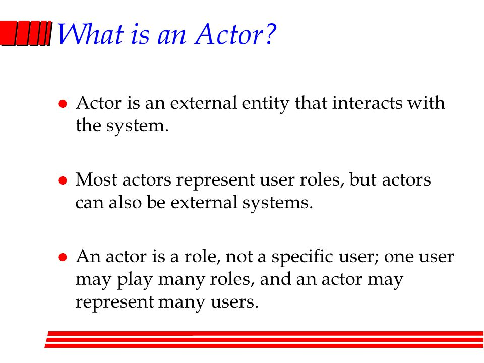 What is an Actor.l Actor is an external entity that interacts with the system.