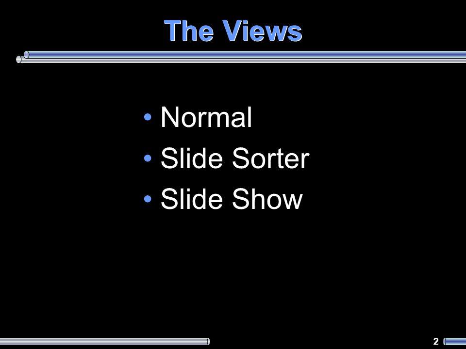 2 The Views Normal Slide Sorter Slide Show