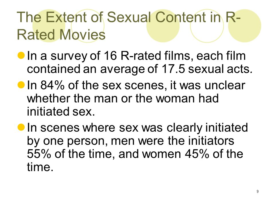 9 The Extent of Sexual Content in R- Rated Movies In a survey of 16 R-rated films, each film contained an average of 17.5 sexual acts.