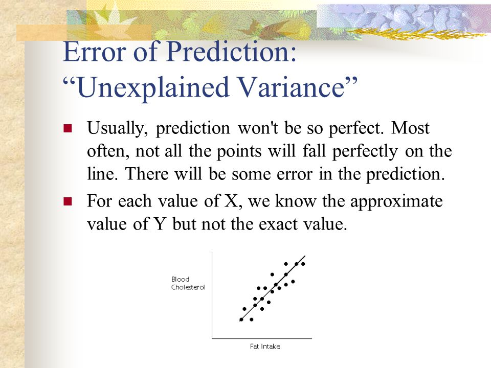"""Error of Prediction: """"Unexplained Variance"""" Usually, prediction won't be so perfect. Most often, not all the points will fall perfectly on the line. T"""