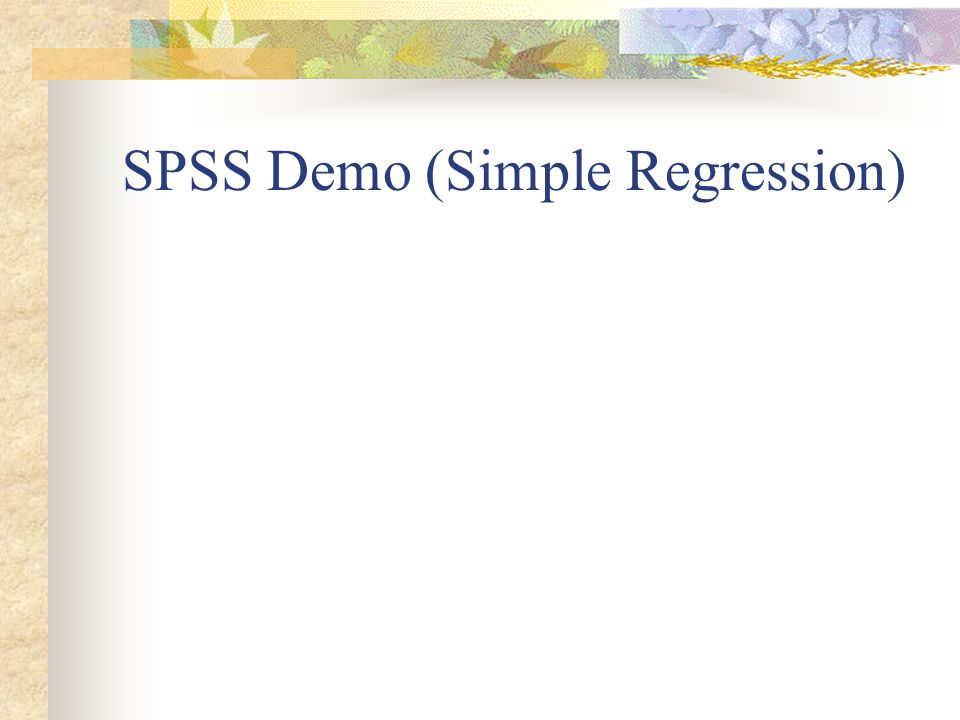 SPSS Demo (Simple Regression)