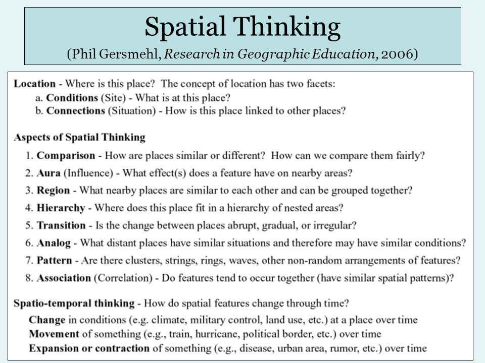 Spatial Thinking (Phil Gersmehl, Research in Geographic Education, 2006)