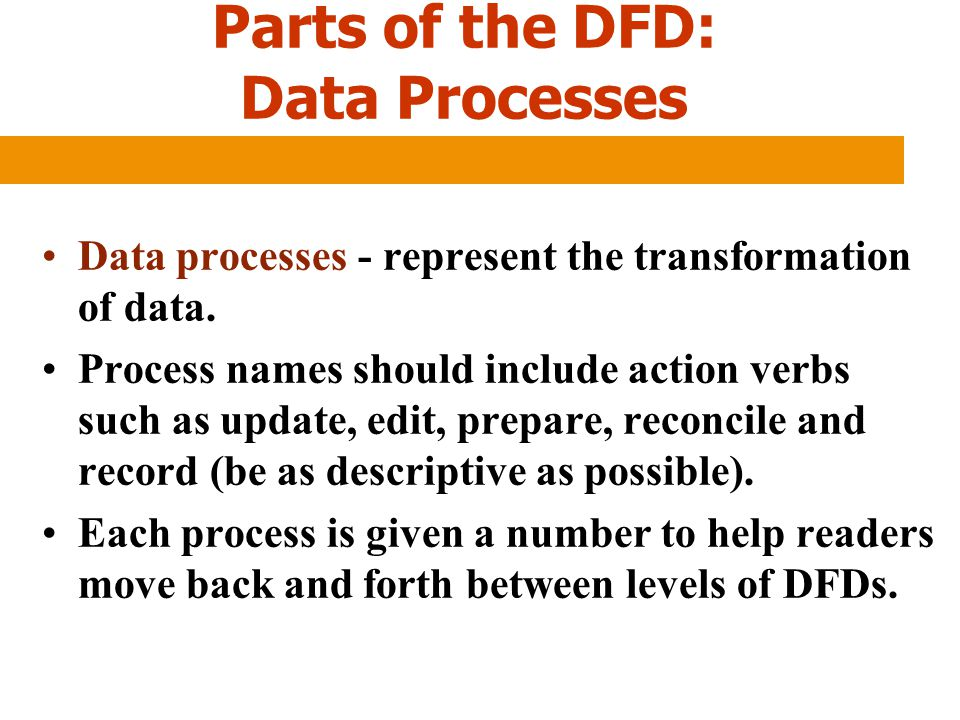 Parts of the DFD: Data Processes Data processes - represent the transformation of data. Process names should include action verbs such as update, edit