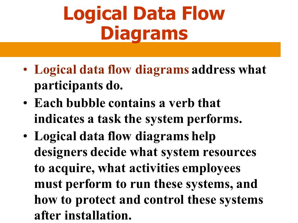 Logical Data Flow Diagrams Logical data flow diagrams address what participants do. Each bubble contains a verb that indicates a task the system perfo