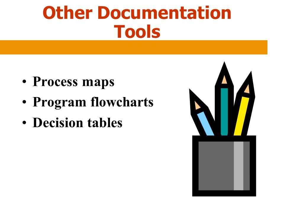 Other Documentation Tools Process maps Program flowcharts Decision tables