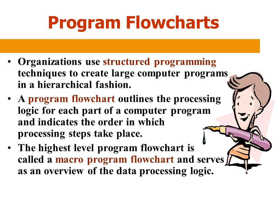 Program Flowcharts Organizations use structured programming techniques to create large computer programs in a hierarchical fashion. A program flowchar