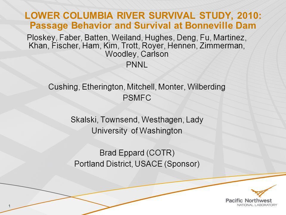 1 LOWER COLUMBIA RIVER SURVIVAL STUDY, 2010: Passage Behavior and Survival at Bonneville Dam Ploskey, Faber, Batten, Weiland, Hughes, Deng, Fu, Martin