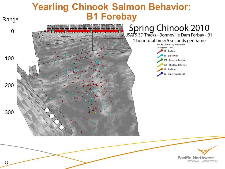 Yearling Chinook Salmon Behavior: B1 Forebay 26 0 100 200 300 Range