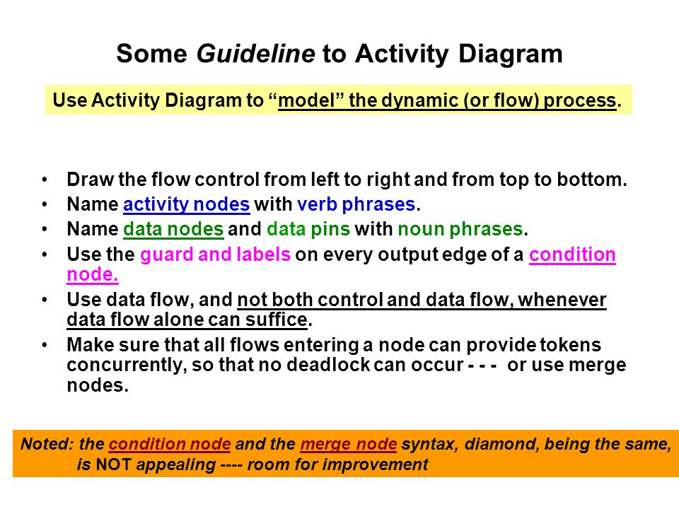 Some Guideline to Activity Diagram Draw the flow control from left to right and from top to bottom.