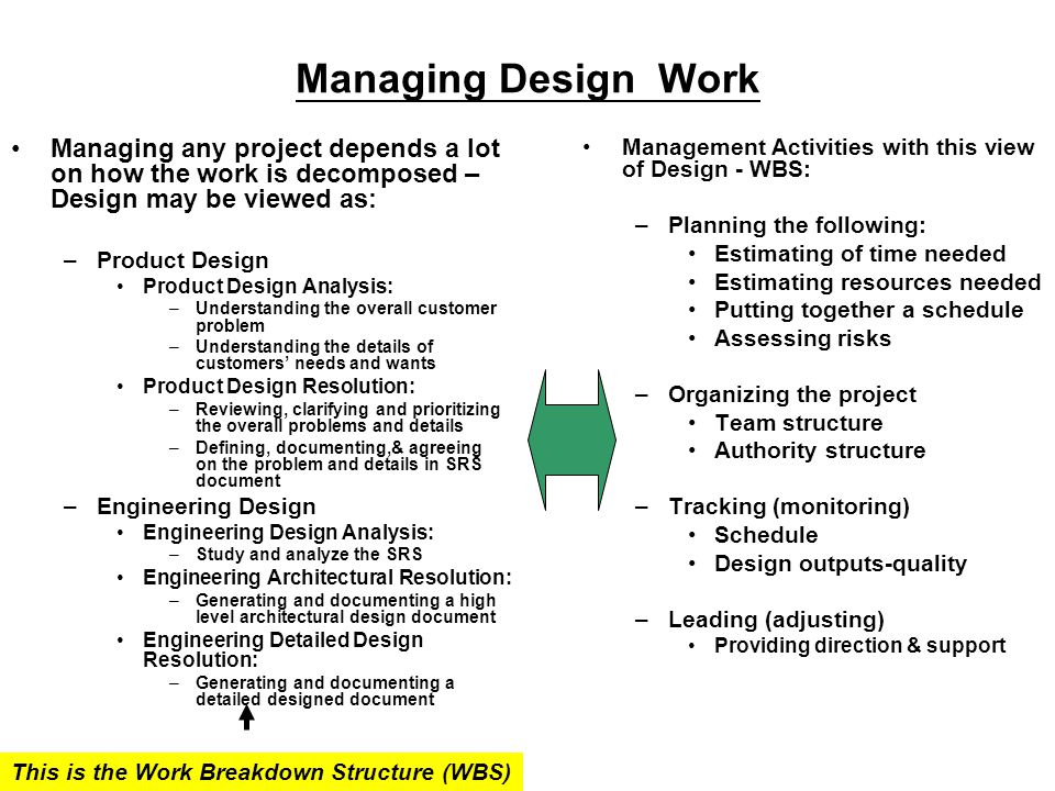 Managing Design Work Managing any project depends a lot on how the work is decomposed – Design may be viewed as: –Product Design Product Design Analysis: –Understanding the overall customer problem –Understanding the details of customers' needs and wants Product Design Resolution: –Reviewing, clarifying and prioritizing the overall problems and details –Defining, documenting,& agreeing on the problem and details in SRS document –Engineering Design Engineering Design Analysis: –Study and analyze the SRS Engineering Architectural Resolution: –Generating and documenting a high level architectural design document Engineering Detailed Design Resolution: –Generating and documenting a detailed designed document Management Activities with this view of Design - WBS: –Planning the following: Estimating of time needed Estimating resources needed Putting together a schedule Assessing risks –Organizing the project Team structure Authority structure –Tracking (monitoring) Schedule Design outputs-quality –Leading (adjusting) Providing direction & support This is the Work Breakdown Structure (WBS)