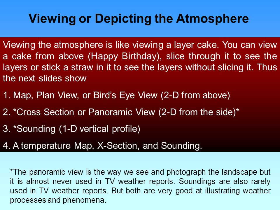 Viewing or Depicting the Atmosphere Viewing the atmosphere is like viewing a layer cake.