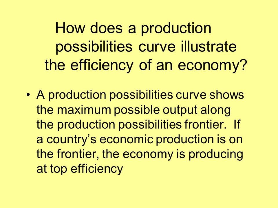 How does a production possibilities curve illustrate the efficiency of an economy? A production possibilities curve shows the maximum possible output