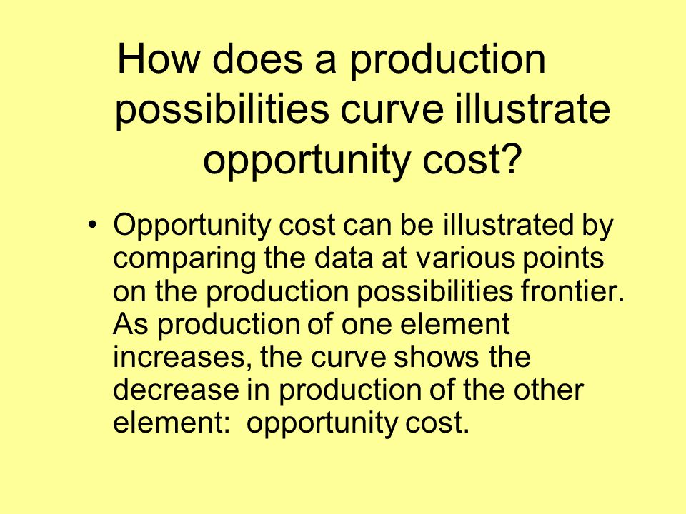 How does a production possibilities curve illustrate opportunity cost? Opportunity cost can be illustrated by comparing the data at various points on