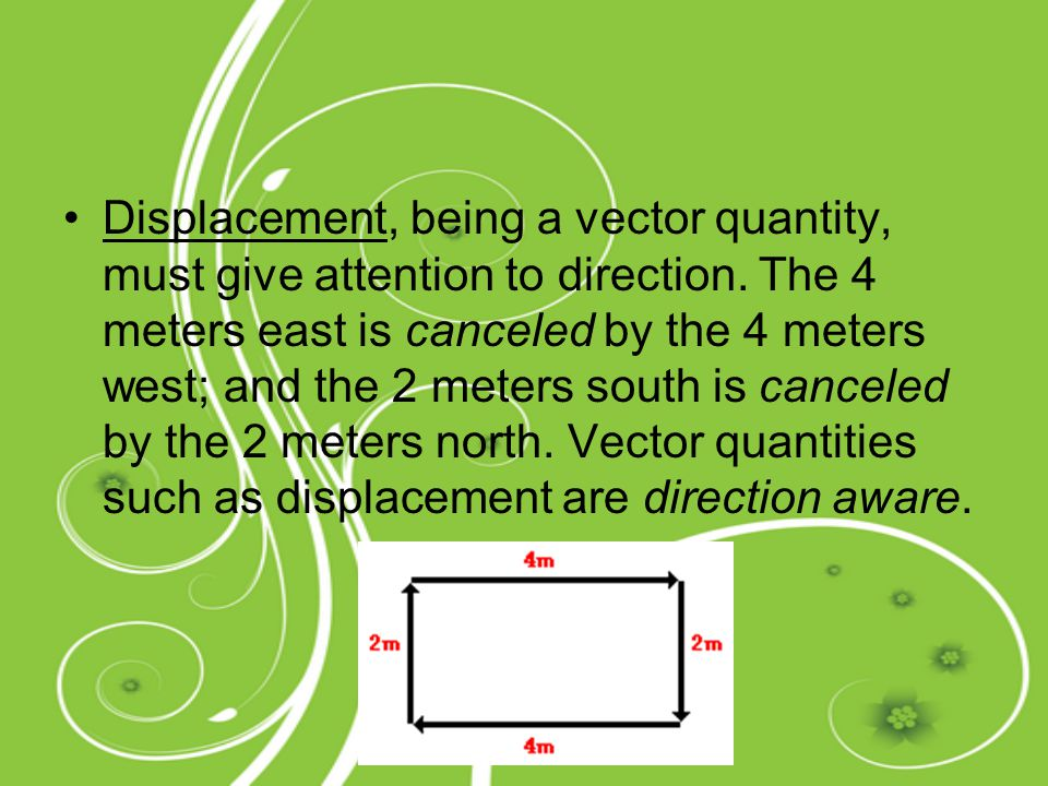 Displacement, being a vector quantity, must give attention to direction. The 4 meters east is canceled by the 4 meters west; and the 2 meters south is