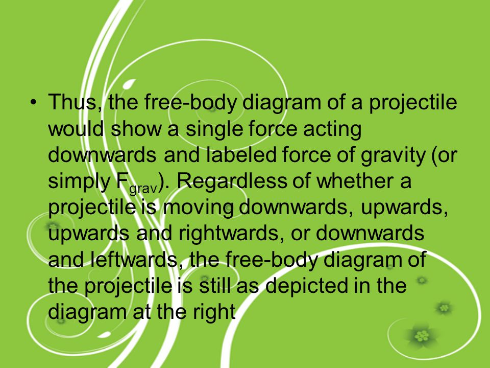 Thus, the free-body diagram of a projectile would show a single force acting downwards and labeled force of gravity (or simply F grav ). Regardless of