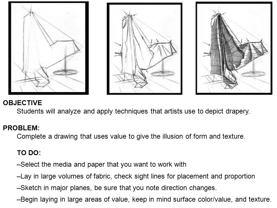 OBJECTIVE Students will analyze and apply techniques that artists use to depict drapery.