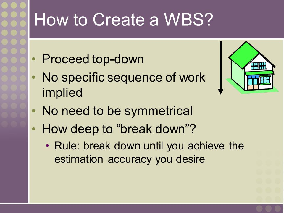 """How to Create a WBS? Proceed top-down No specific sequence of work implied No need to be symmetrical How deep to """"break down""""? Rule: break down until"""