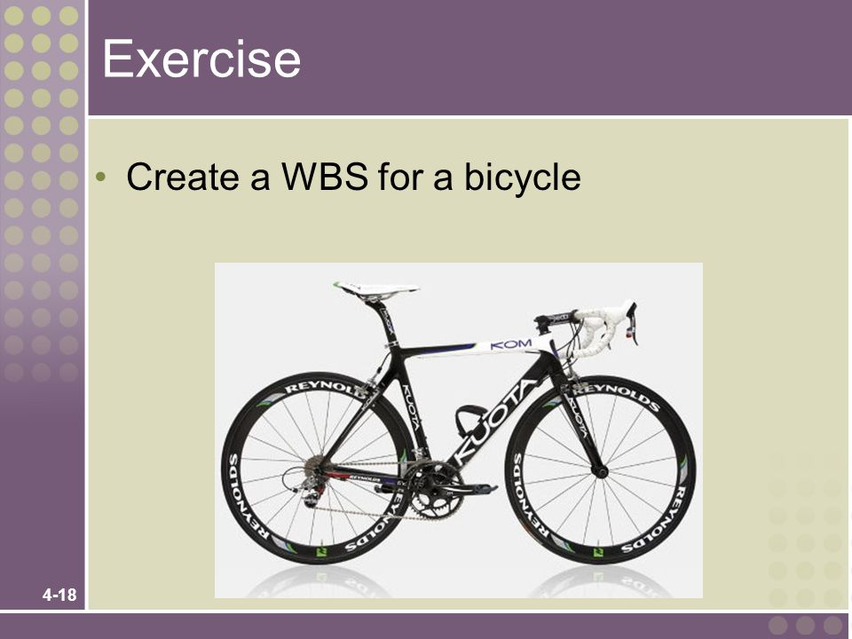 Exercise Create a WBS for a bicycle 4-18