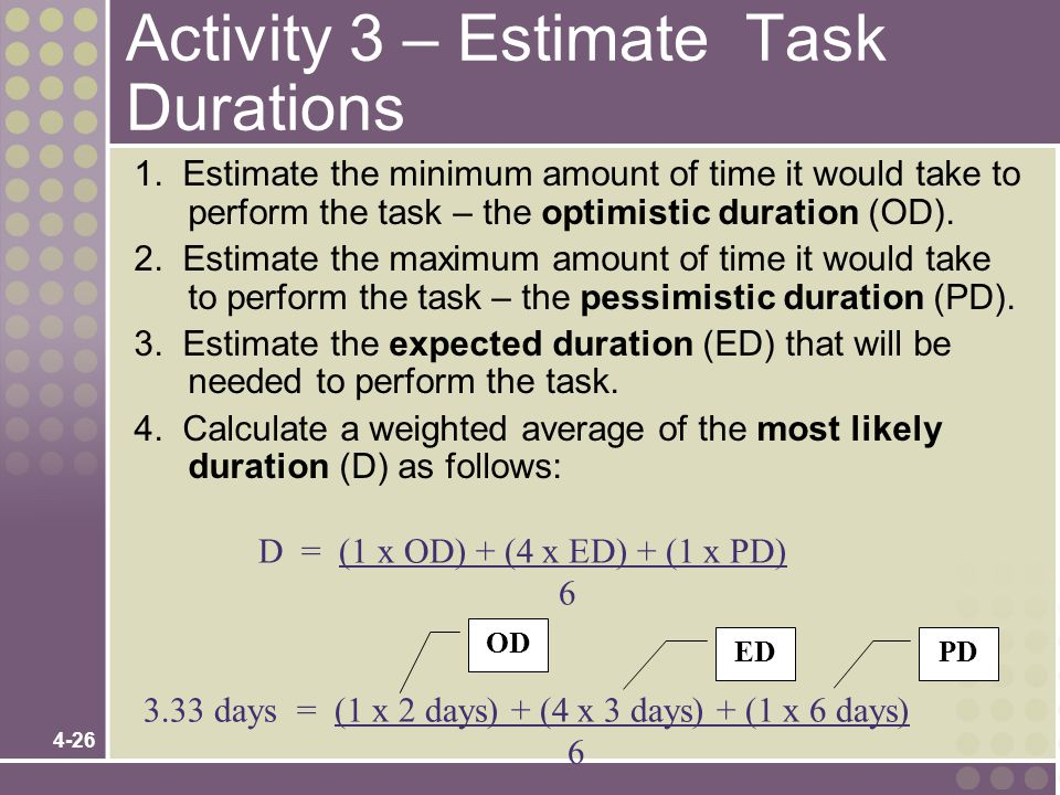 4-26 Activity 3 – Estimate Task Durations 1. Estimate the minimum amount of time it would take to perform the task – the optimistic duration (OD). 2.