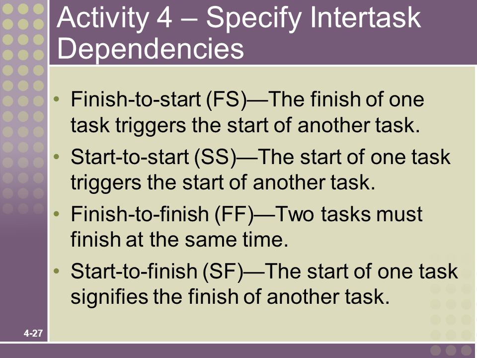 4-27 Activity 4 – Specify Intertask Dependencies Finish-to-start (FS)—The finish of one task triggers the start of another task. Start-to-start (SS)—T