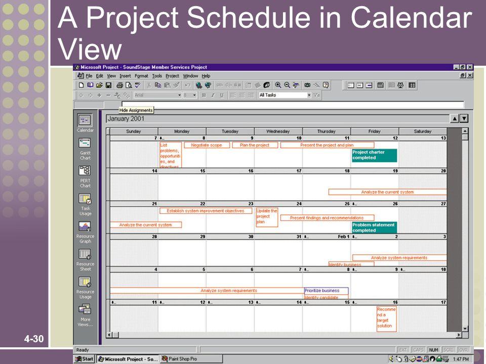 4-30 A Project Schedule in Calendar View