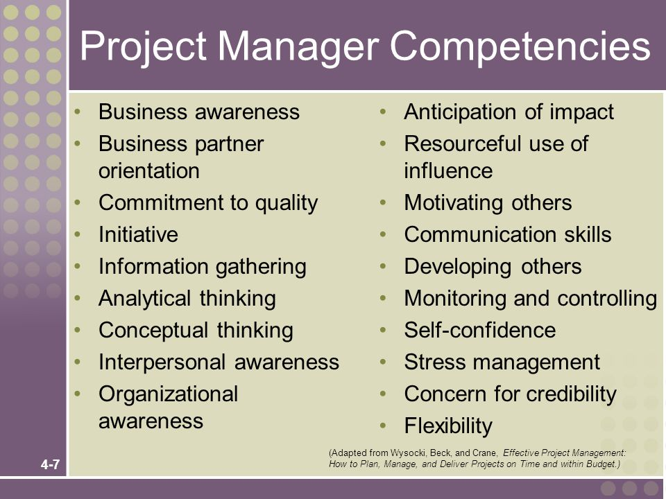 4-7 Project Manager Competencies Business awareness Business partner orientation Commitment to quality Initiative Information gathering Analytical thi