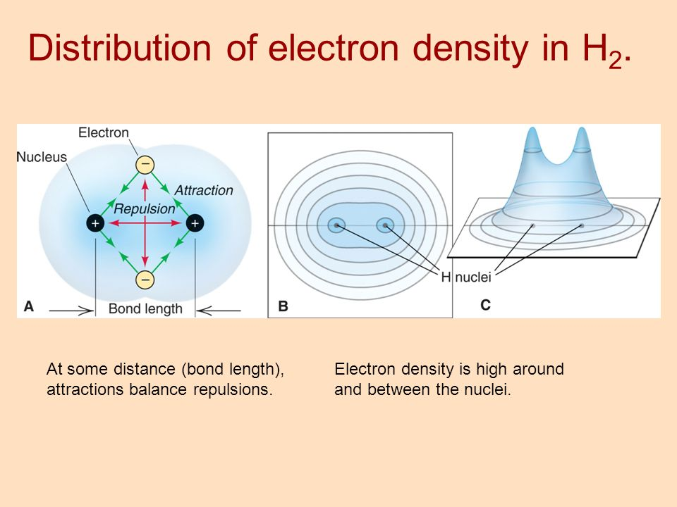 At some distance (bond length), attractions balance repulsions. Electron density is high around and between the nuclei. Distribution of electron densi