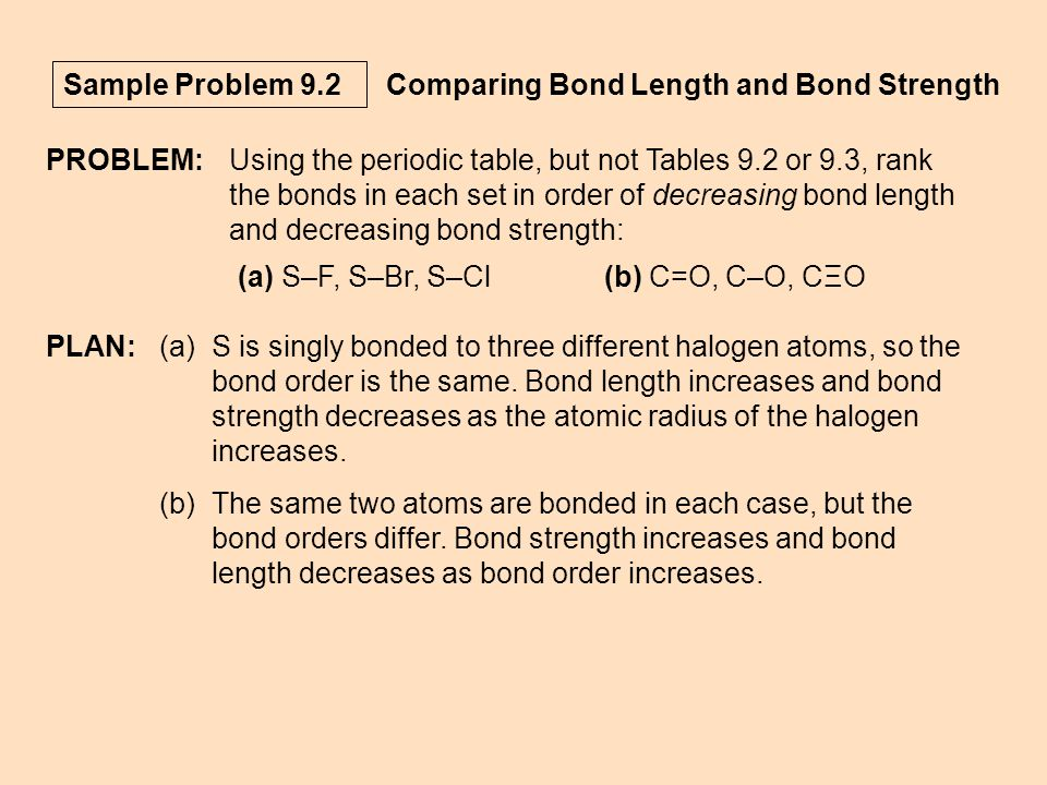 Sample Problem 9.2 Comparing Bond Length and Bond Strength PROBLEM:Using the periodic table, but not Tables 9.2 or 9.3, rank the bonds in each set in