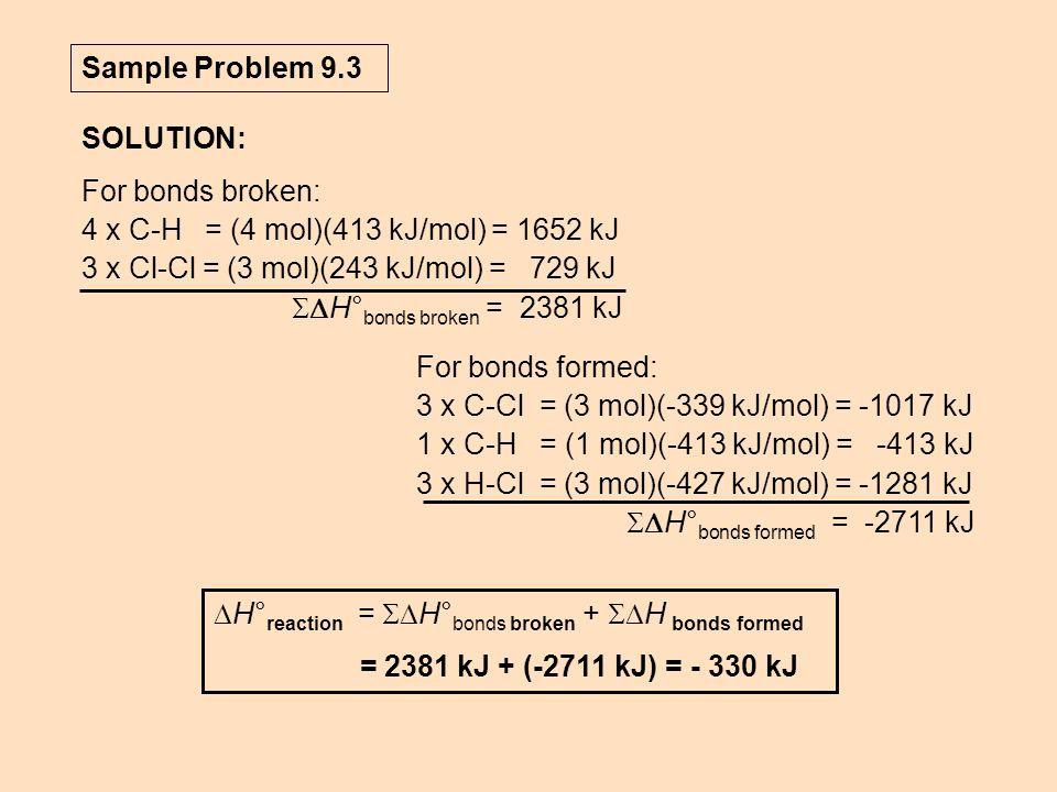 Sample Problem 9.3 SOLUTION:  H° reaction =  H° bonds broken +  H bonds formed = 2381 kJ + (-2711 kJ) = - 330 kJ For bonds broken: 4 x C-H = (4 mol)(413 kJ/mol) = 1652 kJ 3 x Cl-Cl = (3 mol)(243 kJ/mol) = 729 kJ  H° bonds broken = 2381 kJ For bonds formed: 3 x C-Cl = (3 mol)(-339 kJ/mol) = -1017 kJ 1 x C-H = (1 mol)(-413 kJ/mol) = -413 kJ 3 x H-Cl = (3 mol)(-427 kJ/mol) = -1281 kJ  H° bonds formed = -2711 kJ