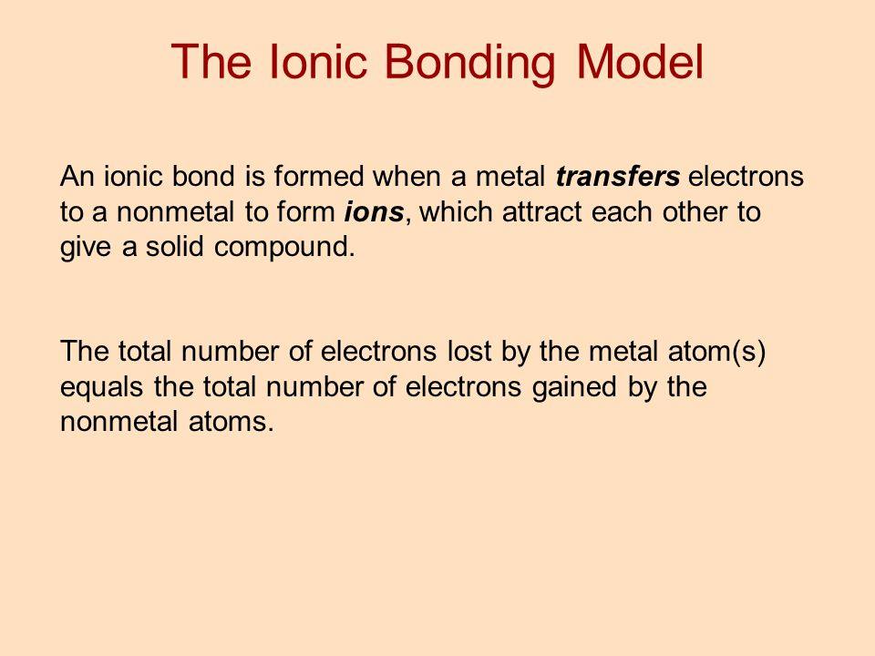An ionic bond is formed when a metal transfers electrons to a nonmetal to form ions, which attract each other to give a solid compound. The total numb
