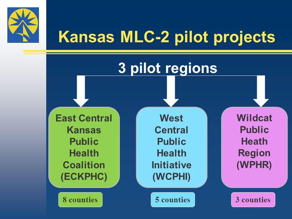 Kansas MLC-2 pilot projects 3 pilot regions East Central Kansas Public Health Coalition (ECKPHC) 8 counties West Central Public Health Initiative (WCPHI) 5 counties Wildcat Public Heath Region (WPHR) 3 counties