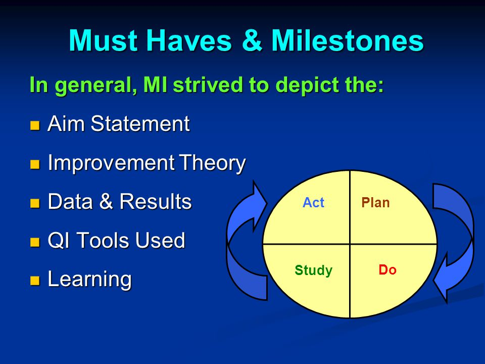 Must Haves & Milestones Must Haves & Milestones In general, MI strived to depict the: Aim Statement Aim Statement Improvement Theory Improvement Theory Data & Results Data & Results QI Tools Used QI Tools Used Learning Learning Plan DoStudy Act