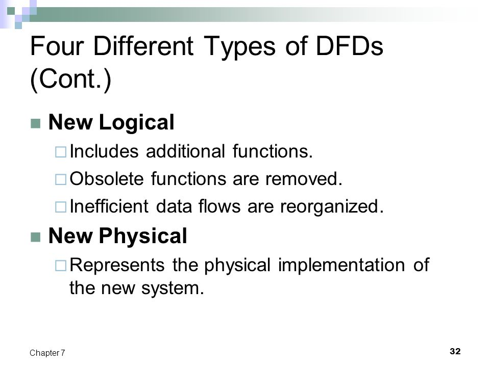 32 Chapter 7 Four Different Types of DFDs (Cont.) New Logical  Includes additional functions.  Obsolete functions are removed.  Inefficient data fl