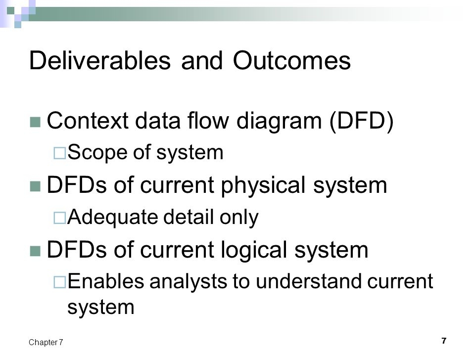 8 Chapter 7 Deliverables and Outcomes (Cont.) DFDs of new logical system  Technology independent  Show data flows, structure, and functional requirements of new system Thorough description of each DFD component