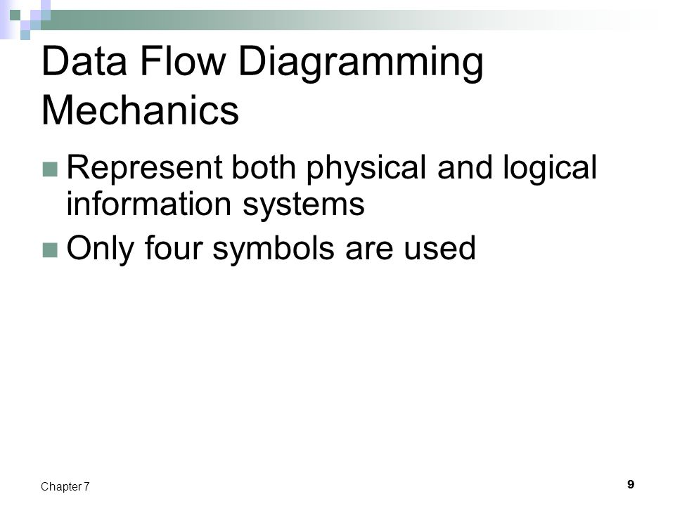 Data Flow Diagramming Rules (Cont.) 20 Chapter 7 TABLE 7-2 Rules Governing Data Flow Diagramming (cont.)