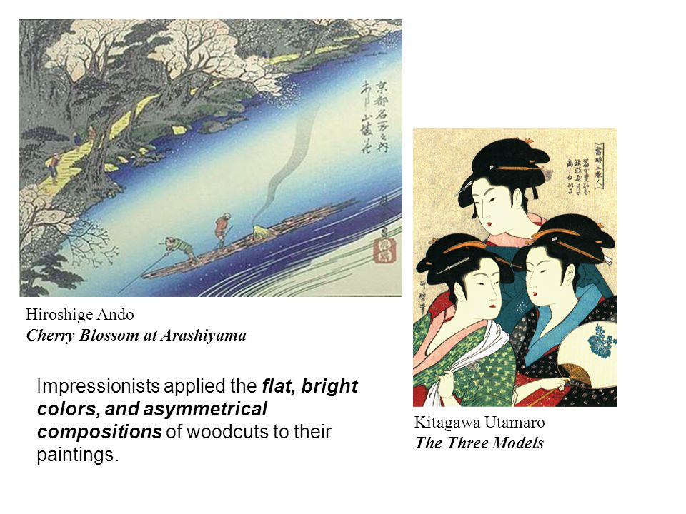 Hiroshige Ando Cherry Blossom at Arashiyama Kitagawa Utamaro The Three Models Impressionists applied the flat, bright colors, and asymmetrical compositions of woodcuts to their paintings.