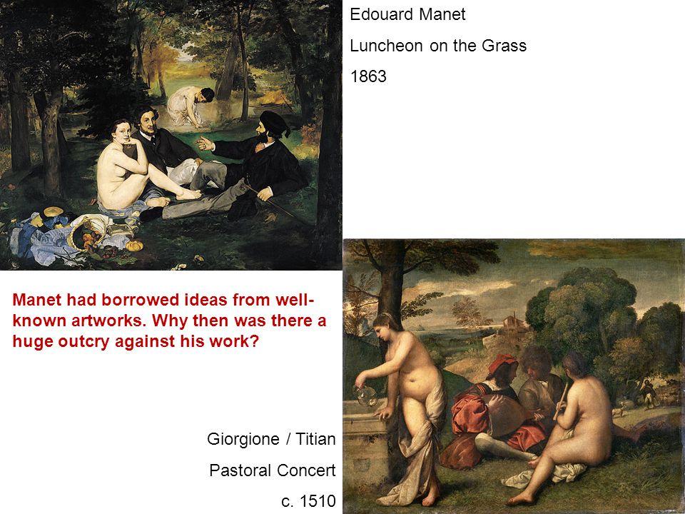 Edouard Manet Luncheon on the Grass 1863 Marcantonio Raimondi Judgement of Paris c. 1515