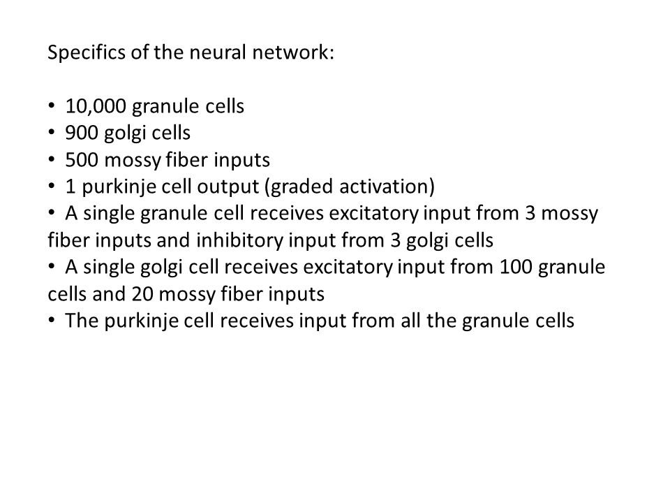 Specifics of the neural network: 10,000 granule cells 900 golgi cells 500 mossy fiber inputs 1 purkinje cell output (graded activation) A single granule cell receives excitatory input from 3 mossy fiber inputs and inhibitory input from 3 golgi cells A single golgi cell receives excitatory input from 100 granule cells and 20 mossy fiber inputs The purkinje cell receives input from all the granule cells