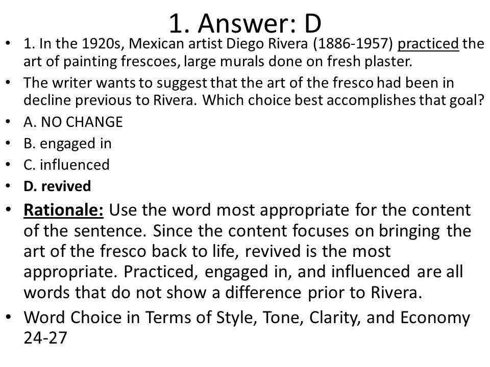 1. Answer: D 1.