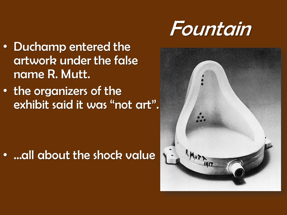 Fountain Duchamp entered the artwork under the false name R.